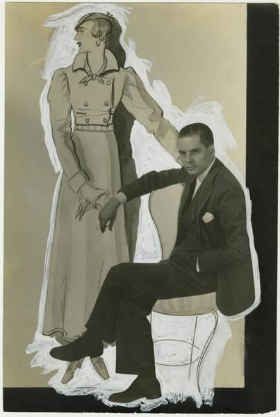 Porter Photograph - Porter Woodruff With An Illustration by George Hoyningen-Huene