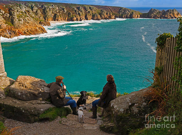 Dog Walker Photograph - Porthcurno Bay And Logan Rock by Louise Heusinkveld
