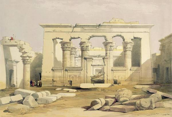 Columns Drawing - Portico Of The Temple Of Kalabshah by David Roberts