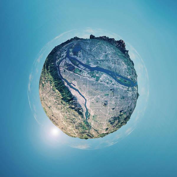 Portland 3d Little Planet 360-degree Sphere Panorama Art Print by FrankRamspott