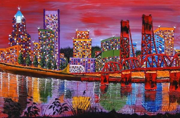 Wall Art - Painting - Portland City Lights 22 by Dunbar's Modern Art