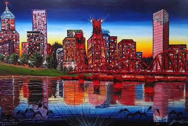 Wall Art - Painting - Portland City Lights #42 by Dunbar's Modern Art