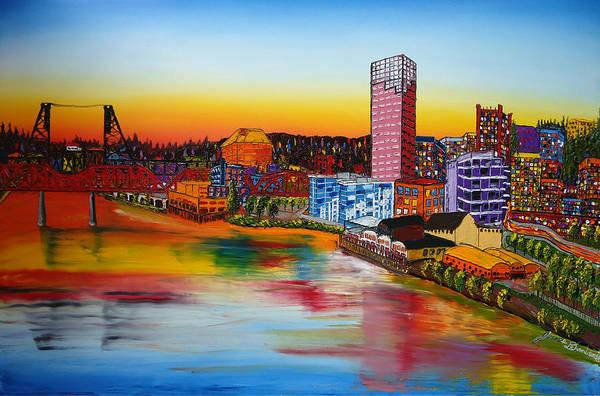 Wall Art - Painting - Portland City Lights #46 by Dunbar's Modern Art