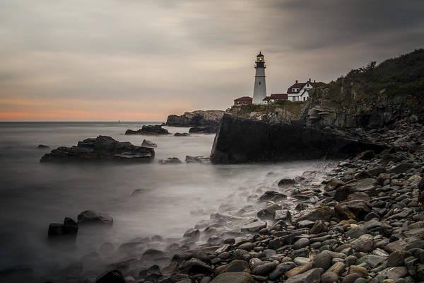 Nikon D5000 Photograph - Portland Head Light At Sunrise by Jonathan Ramsdell