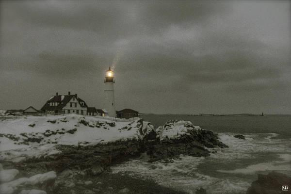 Photograph - Portland Head Light In Snow by John Meader