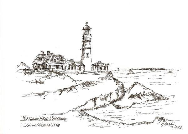 Drawing - Portland Head Light by Jason Nicholas