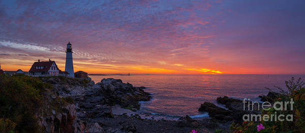 Wall Art - Photograph - Portland Head Light Panoramic Sunrise by Michael Ver Sprill