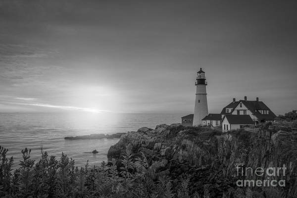 Mv Photograph - Portland Head Light Sunrise Bw by Michael Ver Sprill
