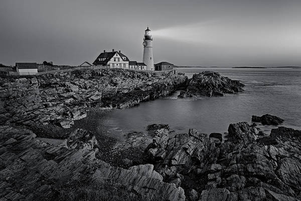 Photograph - Portland Head Light Sunrise Bw by Susan Candelario