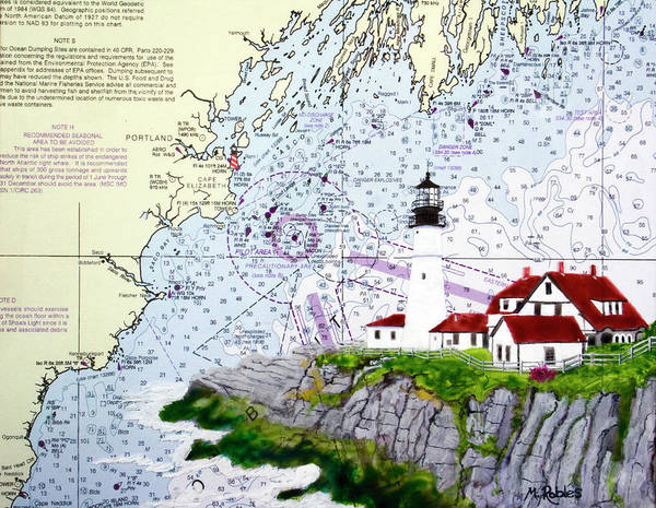 Noaa Chart Wall Art - Painting - Portland Head Lighthouse And Noaa Nautical Chart by Mike Robles