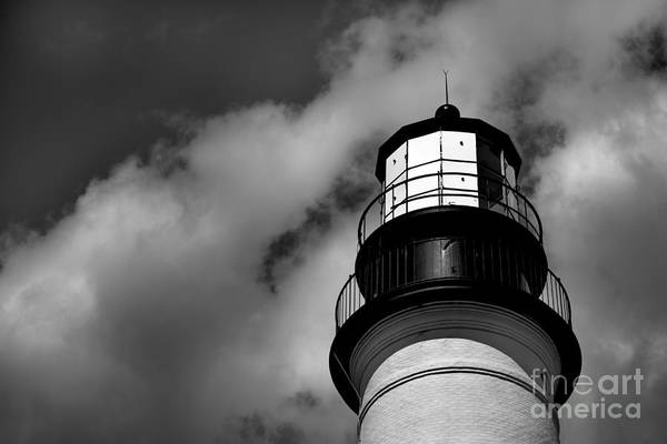 Wall Art - Photograph - Portland Head Lighthouse In Black And White by Diane Diederich
