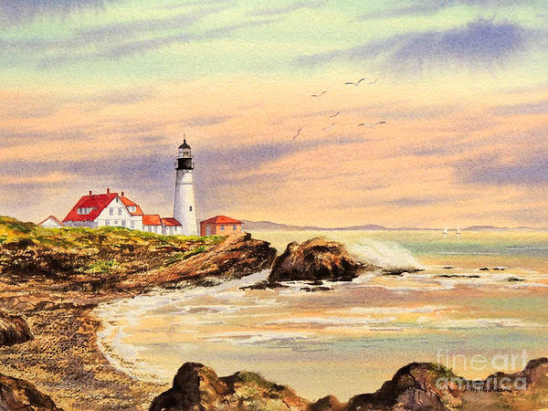 Wave Breaking Painting - Portland Head Lighthouse Maine by Bill Holkham