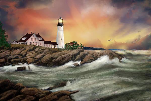 Digital Art - Portland Head Lighthouse by Mary Almond