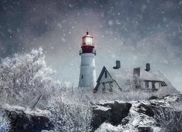 Photograph - Portland Head Lighthouse Snowstorm - Cape Elizabeth Maine by Joann Vitali