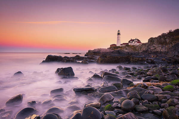 New England Photograph - Portland Headlight by Michael Zheng