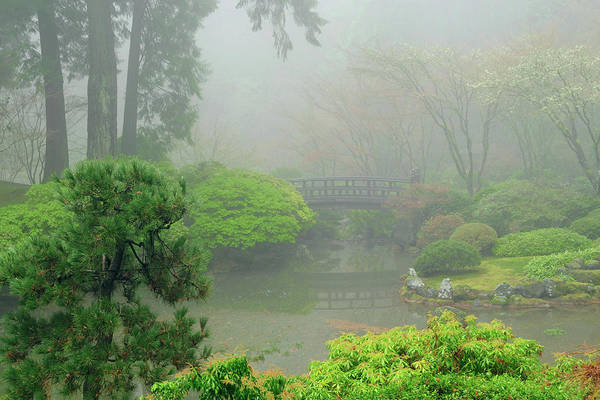 Ethereal Photograph - Portland Japanese Garden Fogged by Michel Hersen