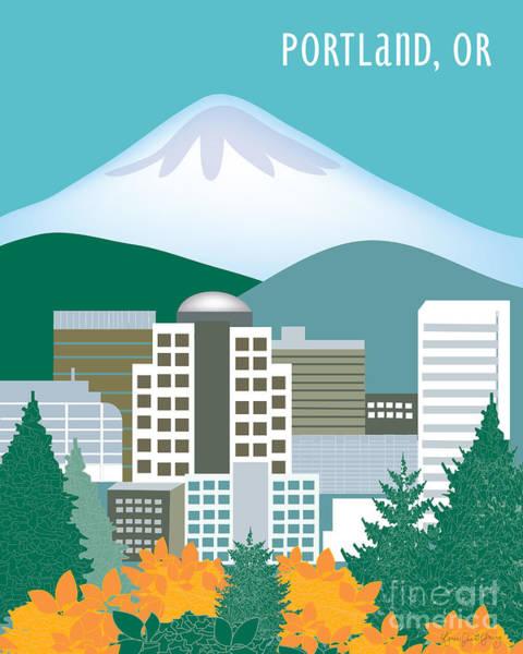Mounted Digital Art - Portland Oregon Vertical Skyline by Karen Young