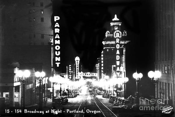 Photograph - Broadway At Night Portland Oregon Circa 1945  by California Views Archives Mr Pat Hathaway Archives