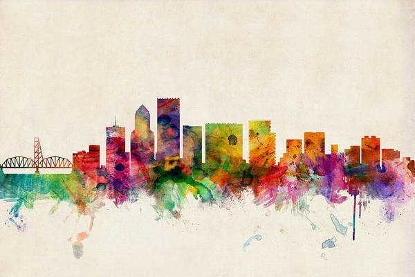 Watercolours Wall Art - Digital Art - Portland Oregon Skyline by Michael Tompsett