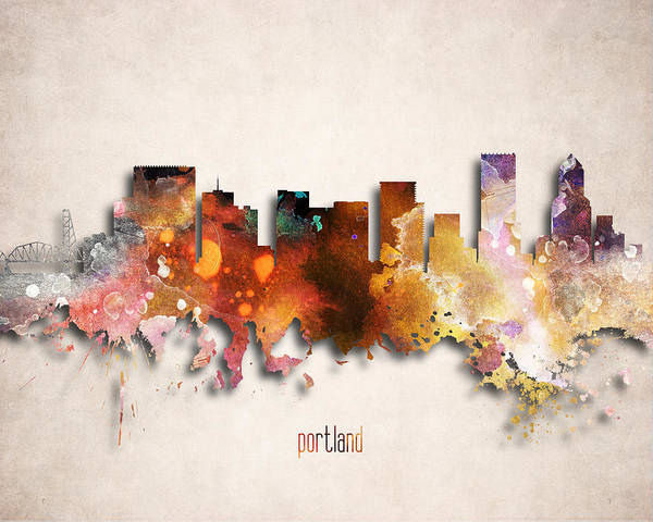 Wall Art - Digital Art - Portland Painted City Skyline by World Art Prints And Designs