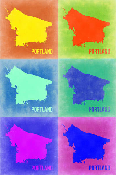 Wall Art - Painting - Portland Pop Art Map 3 by Naxart Studio