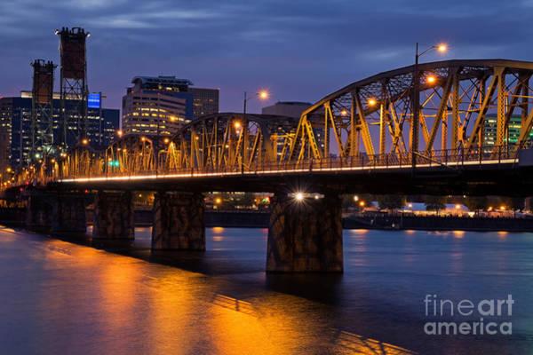 Photograph - Portland Skyline And Hawthorne Bridge by Bryan Mullennix