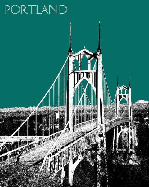 Portland Digital Art - Portland Skyline St. Johns Bridge - Sea Green by DB Artist