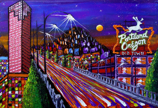Wall Art - Painting - Portland Starry Night #2 by Dunbar's Modern Art