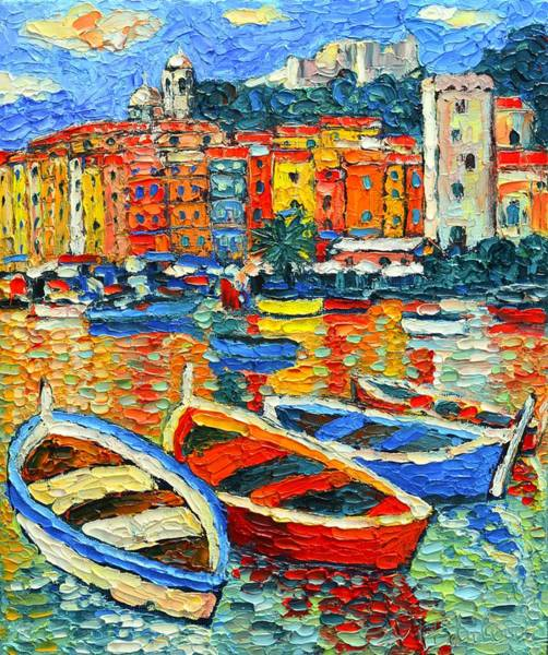 Italian Architecture Painting - Portovenere Harbor - Italy - Ligurian Riviera - Colorful Boats And Reflections by Ana Maria Edulescu