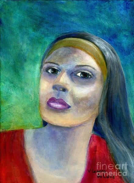 Portrait Art Woman In Red Art Print