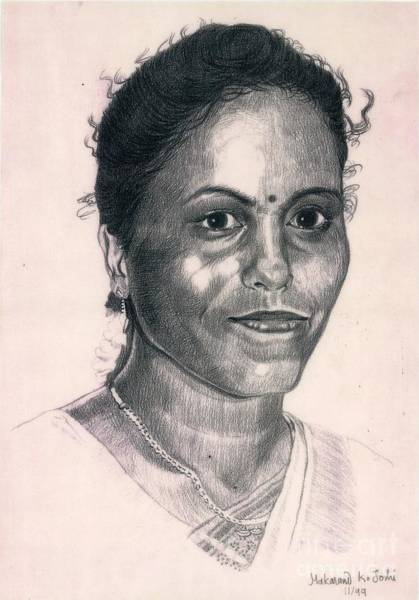Restaurant Decor Drawing - portrait in pencil of  a young Indian girl by Makarand Joshi