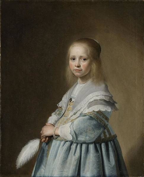 Painting - Portrait Of A Girl Dressed In Blue by Johannes Versponck
