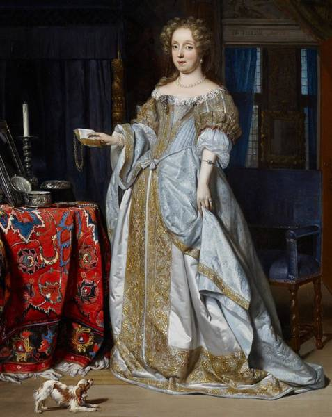 King Charles Spaniel Painting - Portrait Of A Lady by Gabriel Metsu