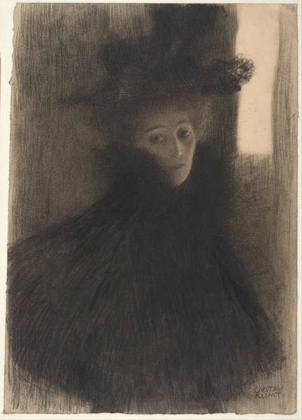 Painting - Portrait Of A Lady With Cape And Hat by Gustav Klimt