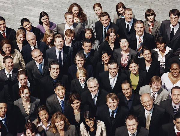 Portrait Of A Large Group Of Business People Standing Outdoors Art Print by Digital Vision.