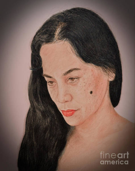 Filipino Drawing - Portrait Of A Long Haired Filipina Beautfy With A Mole On Her Cheek Fade To Black Version by Jim Fitzpatrick