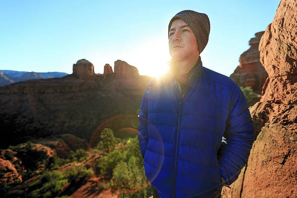 Knit Hat Photograph - Portrait Of A Male Hiker In Sedona by Kyle Ledeboer