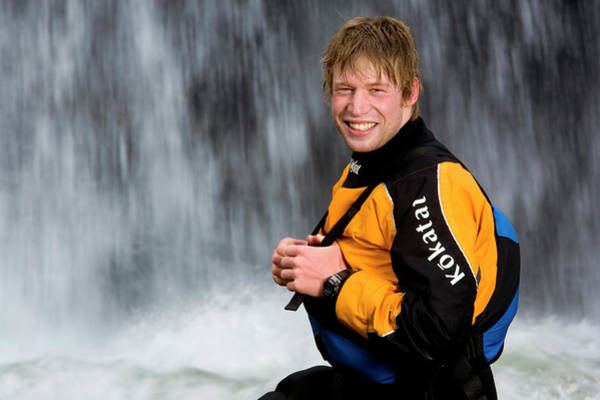 Wetsuit Wall Art - Photograph - Portrait Of A Male Kayaker In Front by Trevor Clark