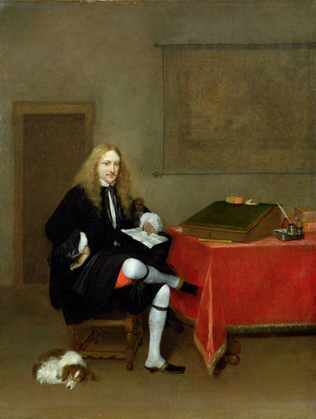 Spaniel Photograph - Portrait Of A Man In His Study, C.1668-69 Oil On Canvas by Gerard ter Borch or Terborch