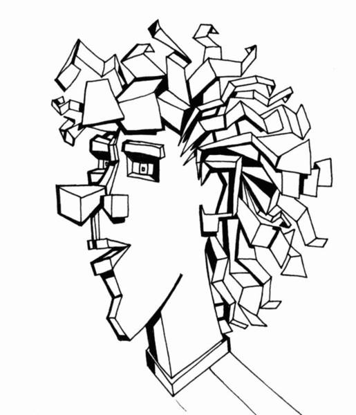 Hairdo Drawing - Portrait Of A Man by Michelle Calkins