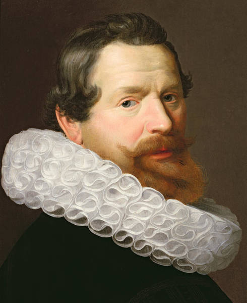 Mustache Painting - Portrait Of A Man Wearing A Ruff by Dutch School