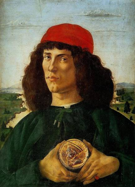 Botticelli Wall Art - Painting - Portrait Of A Man With A Medal Of Cosimo The Elder by Sandro Botticelli