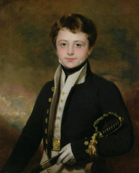 Sword Painting - Portrait Of A Midshipman by Sir Martin Archer Shee