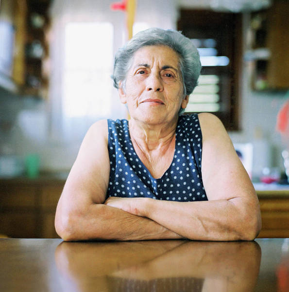 Gray Hair Photograph - Portrait Of A Senior Woman by Thanasis Zovoilis