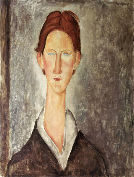 Redhead Photograph - Portrait Of A Student, C.1918-19 Oil On Canvas by Amedeo Modigliani