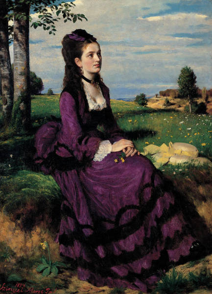 Azure Painting - Portrait Of A Woman In Lilac by Pal Szinyei Merse