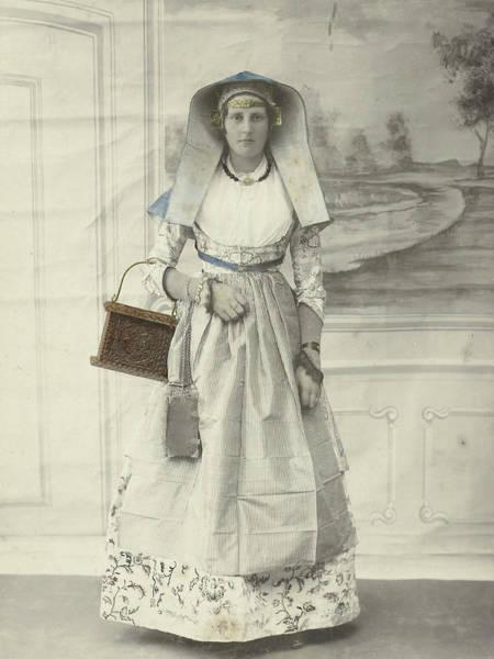 Wall Art - Drawing - Portrait Of A Woman In Zaanse Costume Posing by Artokoloro