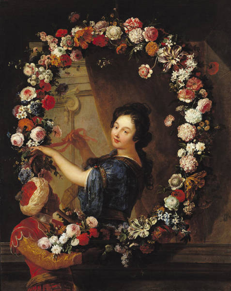 Carnation Photograph - Portrait Of A Woman Surrounded By Flowers, Presumed To Be Julie Dangennes Oil On Canvas by J-B. Belin de Fontenay