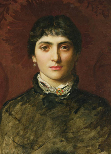 Seductive Painting - Portrait Of A Woman With Dark Hair by Valentine Cameron Prinsep
