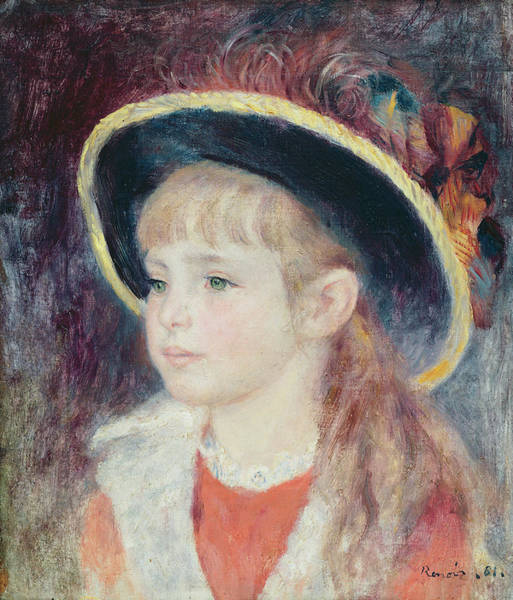 Wall Art - Painting - Portrait Of A Young Girl In A Blue Hat, 1881 Oil On Canvas by Pierre Auguste Renoir
